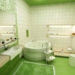 Светло-зеленая ванная комната