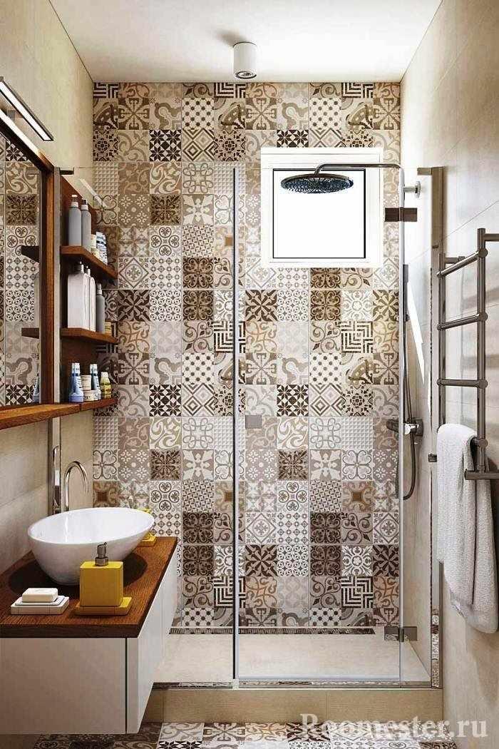 Имитация мозаики в ванной комнате без туалета