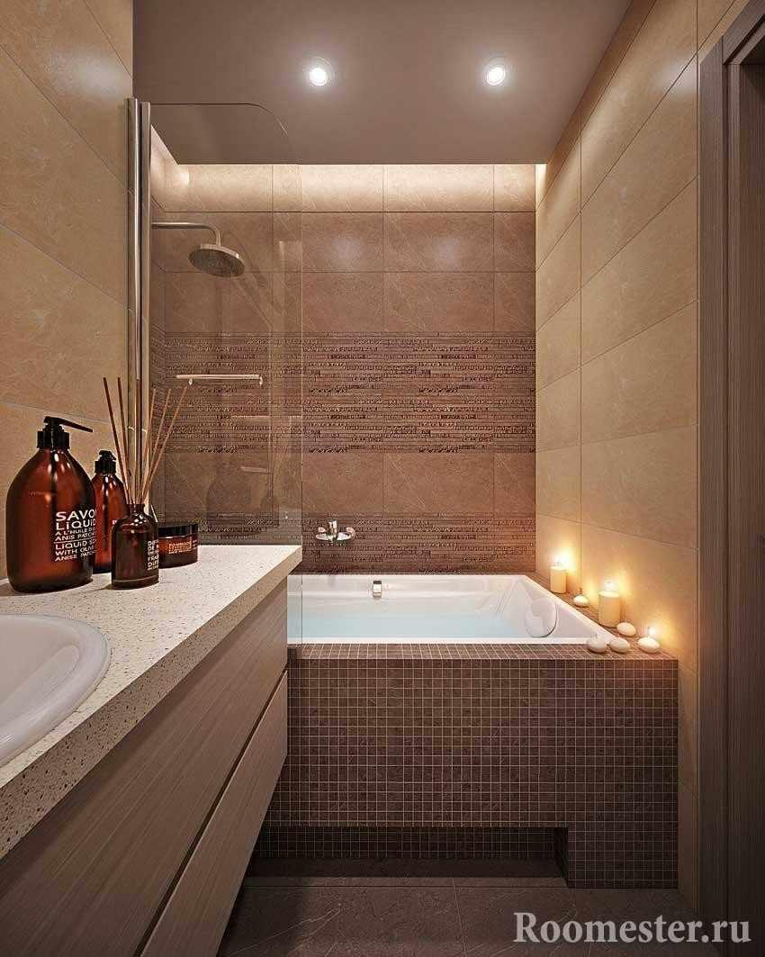Экран ванной из мозаики