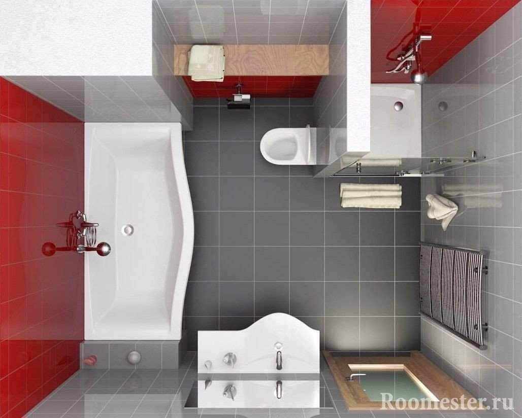 Зонирование ванной 5 кв м