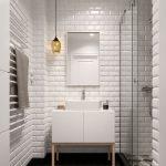 Стекло и кирпич в интерьере ванной