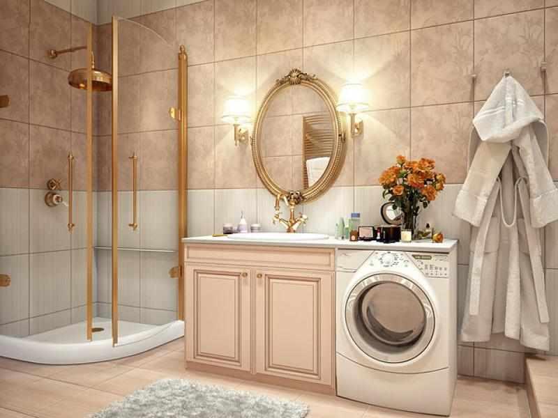 Стиральная машина в большой ванной комнате
