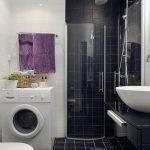 Черно-белый декор ванной со стиральной машиной