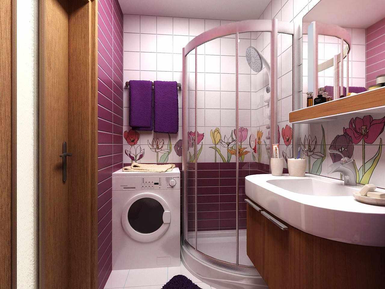 Фиолетовый декор ванной
