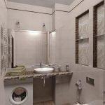 Стиральная машина под зеркалом в ванной