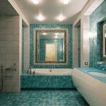 Бирюзово-серая ванная комната