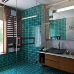 Бирюзовая плитка в отделке ванной комнаты