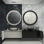 Два круглых зеркала в ванной