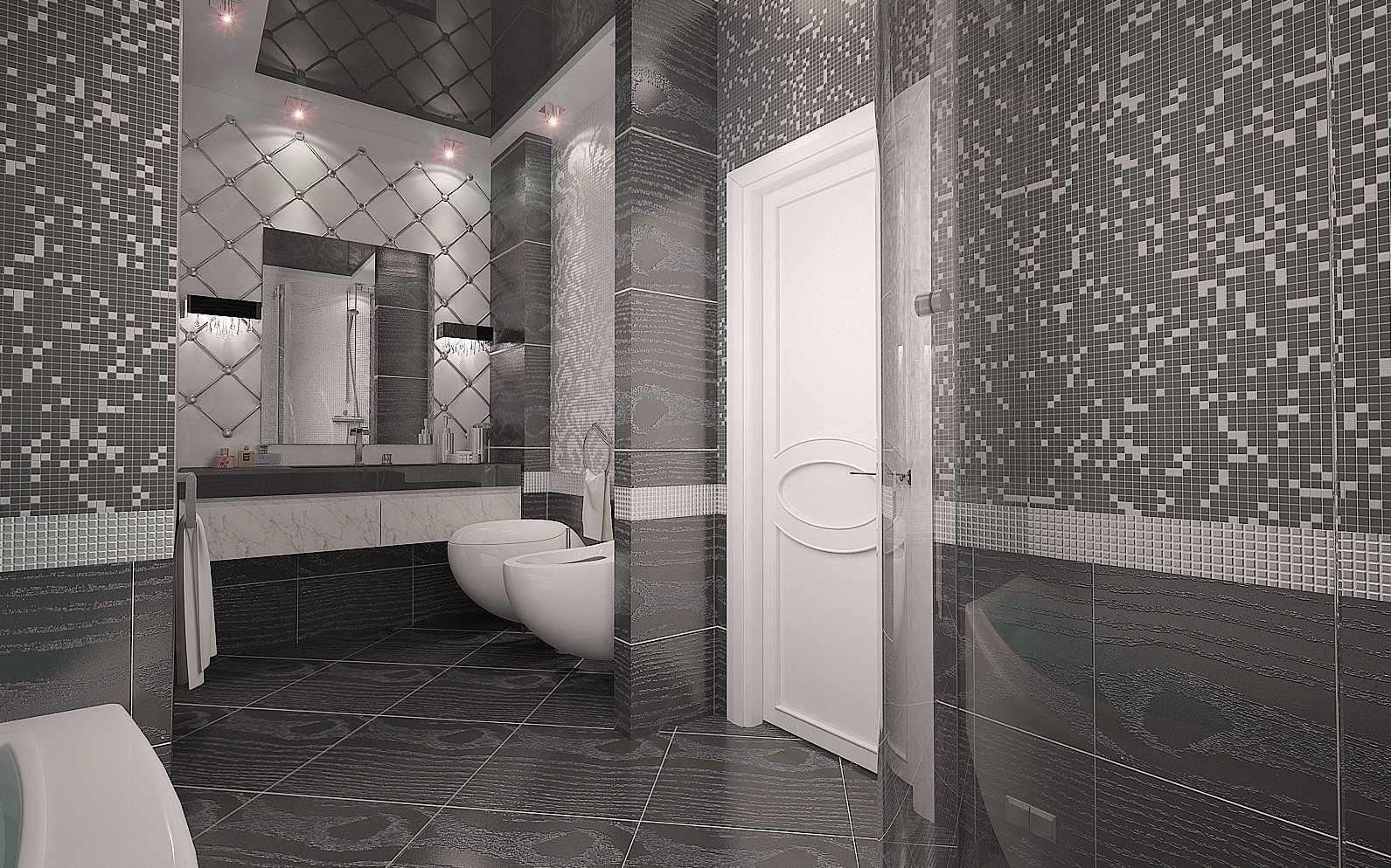 Вариант оформления стен в серой ванной
