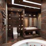 Шоколадный цвет в дизайне ванной