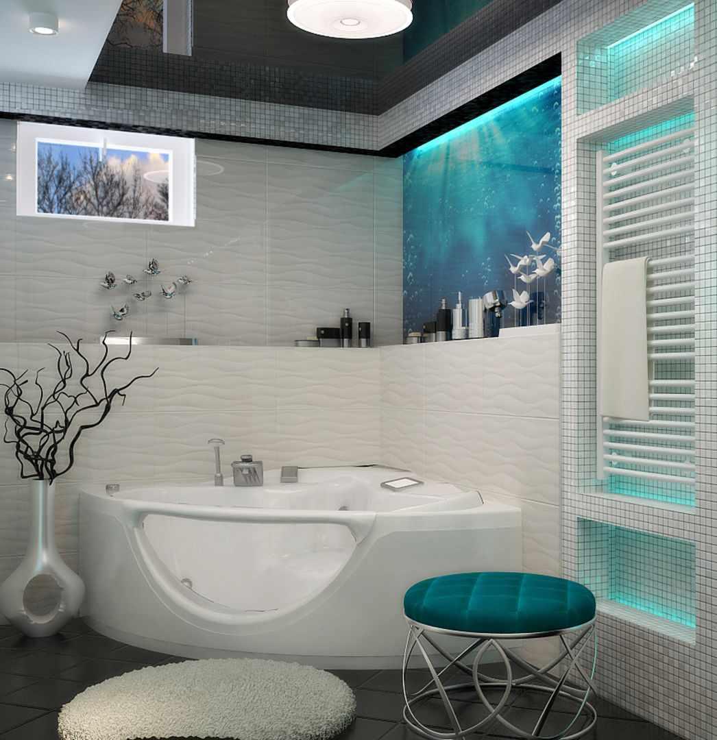 Бирюзовый цвет в дизайне ванной