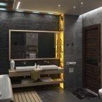 Желтая подсветка в ванной
