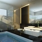 Дизайн небольшой ванной комнаты в черно-белом цвете