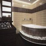 Коричневая мозаика в дизайне ванной