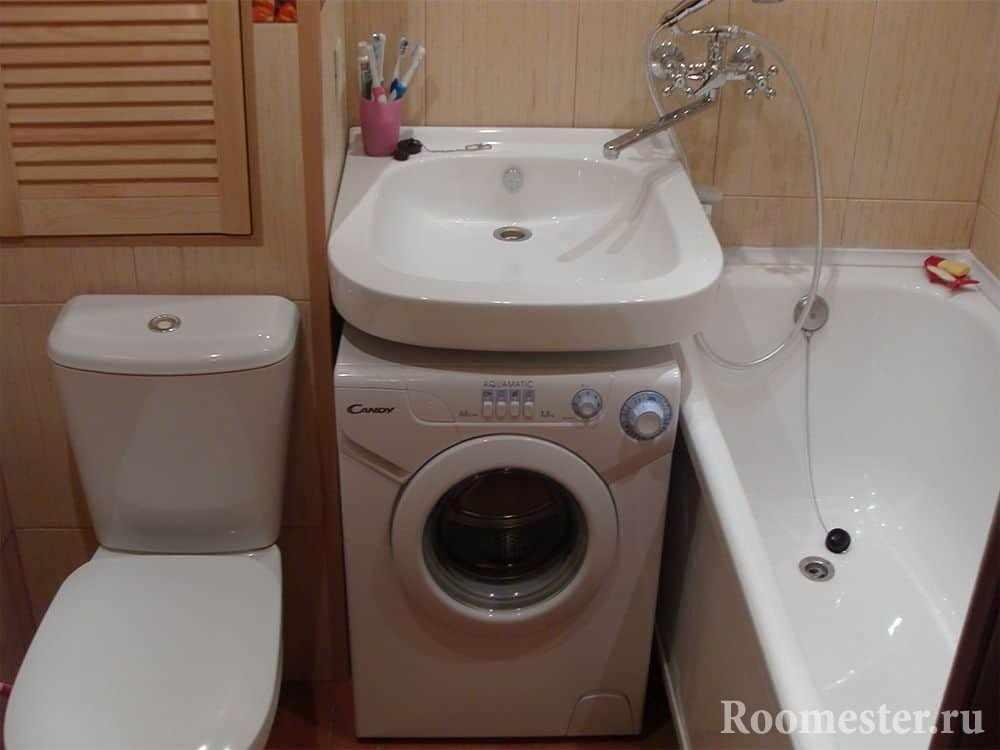 Раковина над стиралкой в ванной комнате
