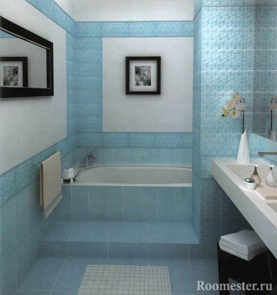 Ванная комната в хрущевке в бирюзовых тонах