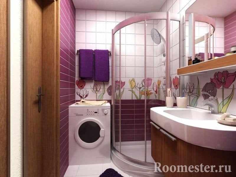 Вариант дизайна керамической плиткой в ванной комнате