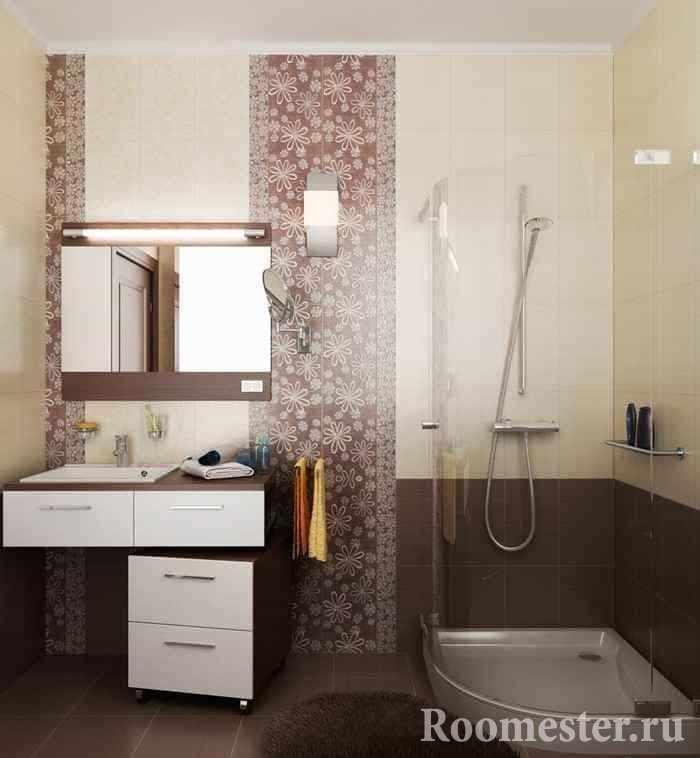 Ванная комната в панельном доме с душевой кабиной