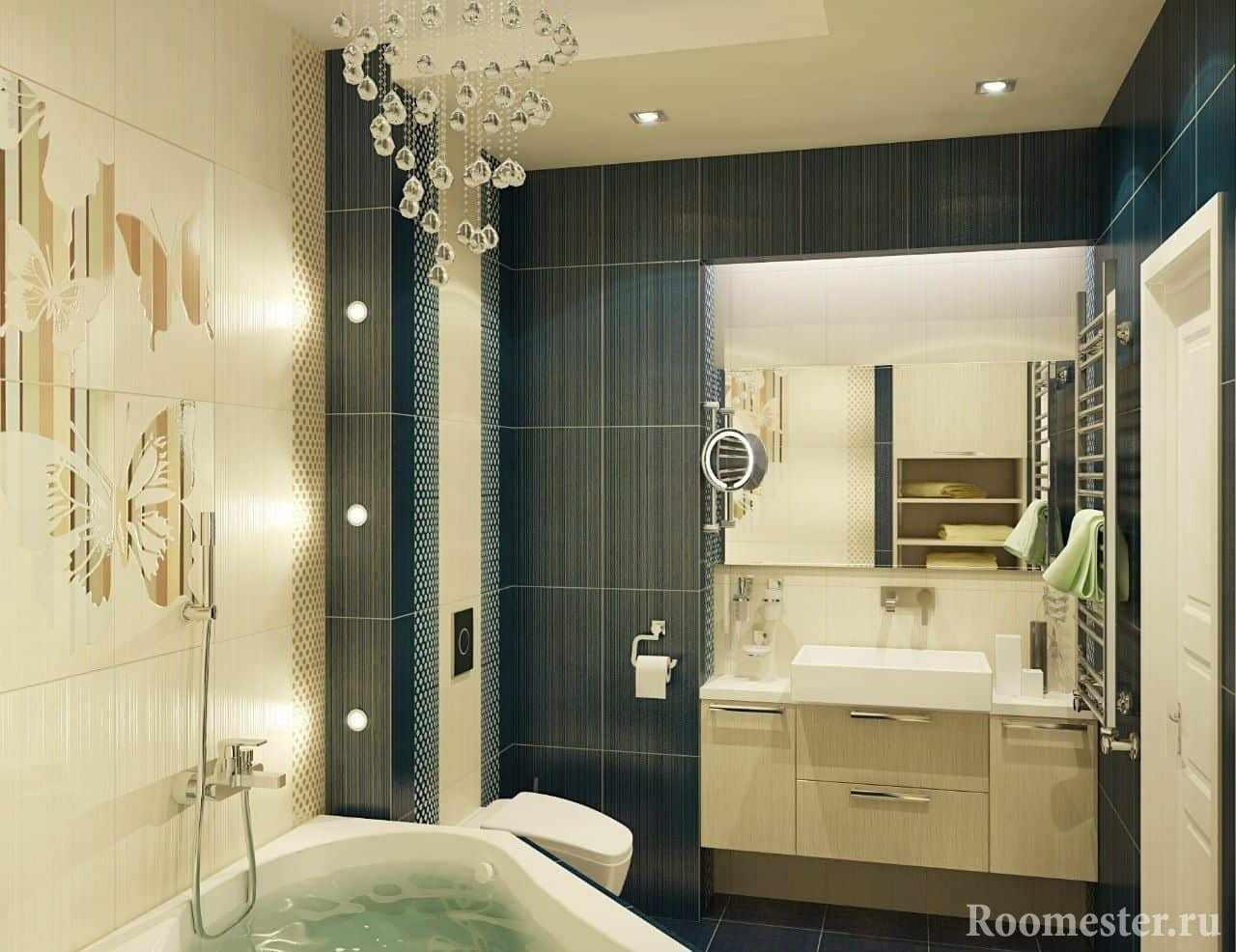 Маленькая ванная комната в панельном доме с угловой ванной