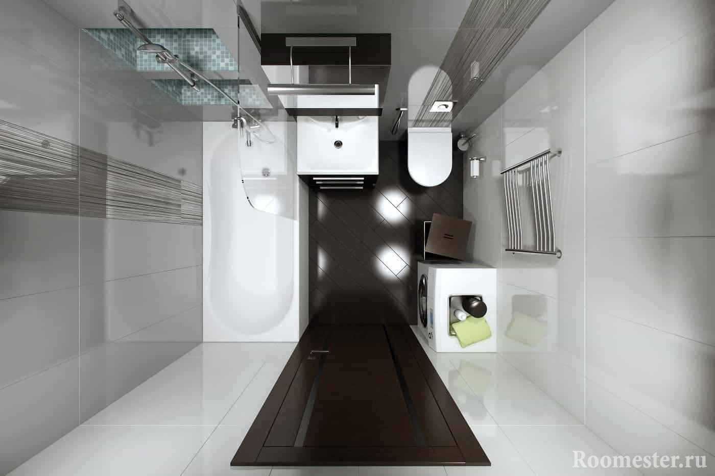 Расположение сантехники и стиральной машины в ванной в панельном доме