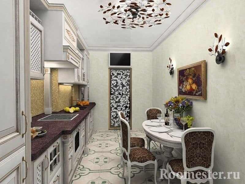 Вытянутая узкая кухня в квартире