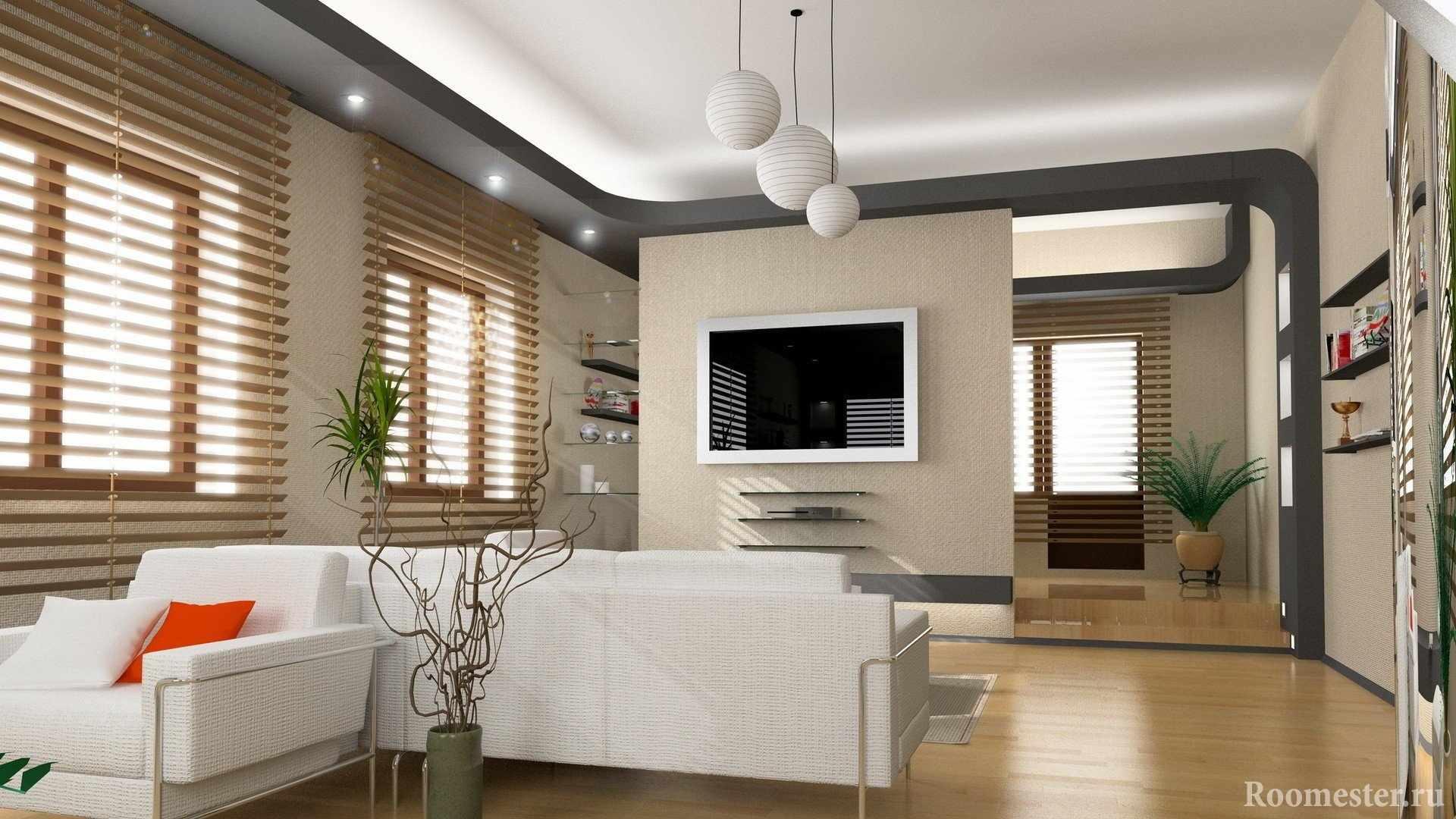 Белый диван и телевизор на стене