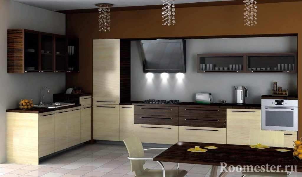 Двухцветная мебель на кухне