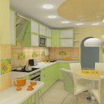 Интерьер кухни с мягкими цветами