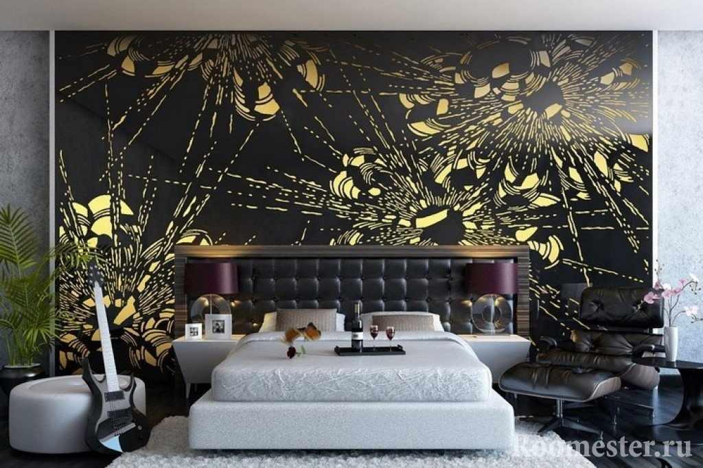 Черная стена и белая кровать