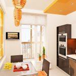 Оранжево-белый интерьер кухни