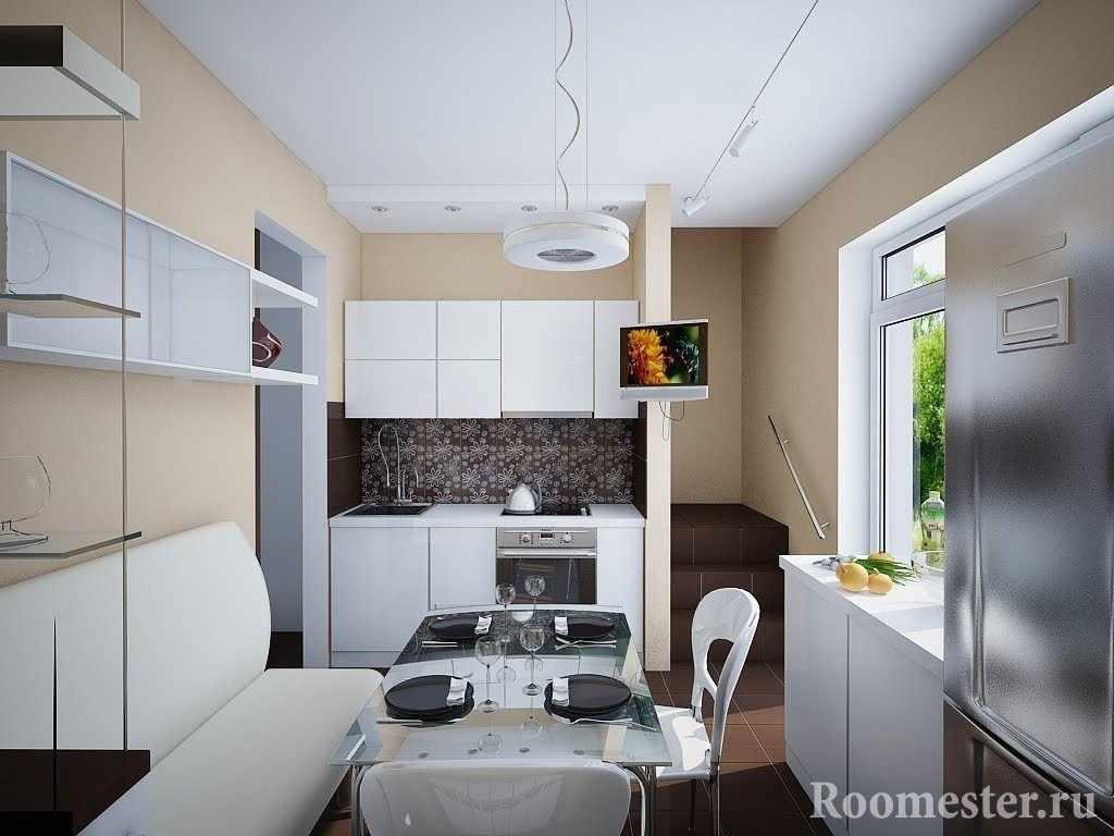 Стеклянный столик и белый диван на кухне