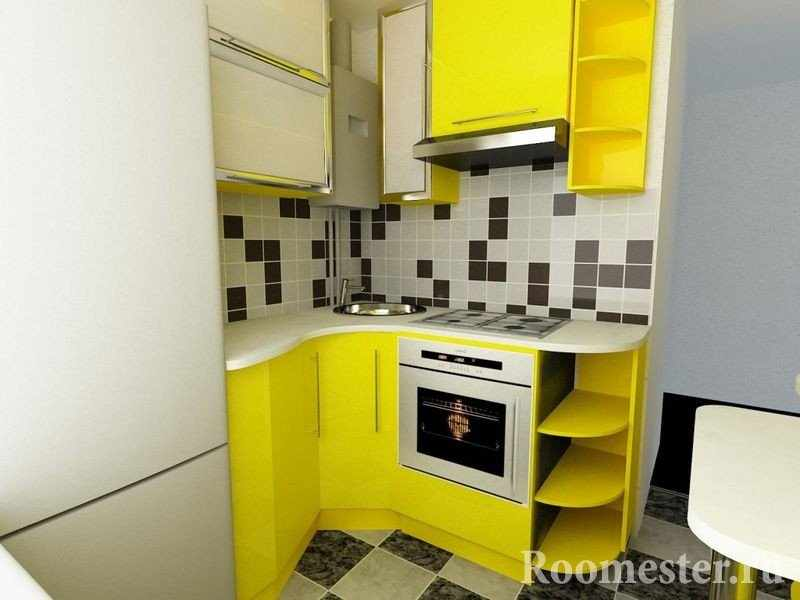 Желтая мебель в интерьере кухни