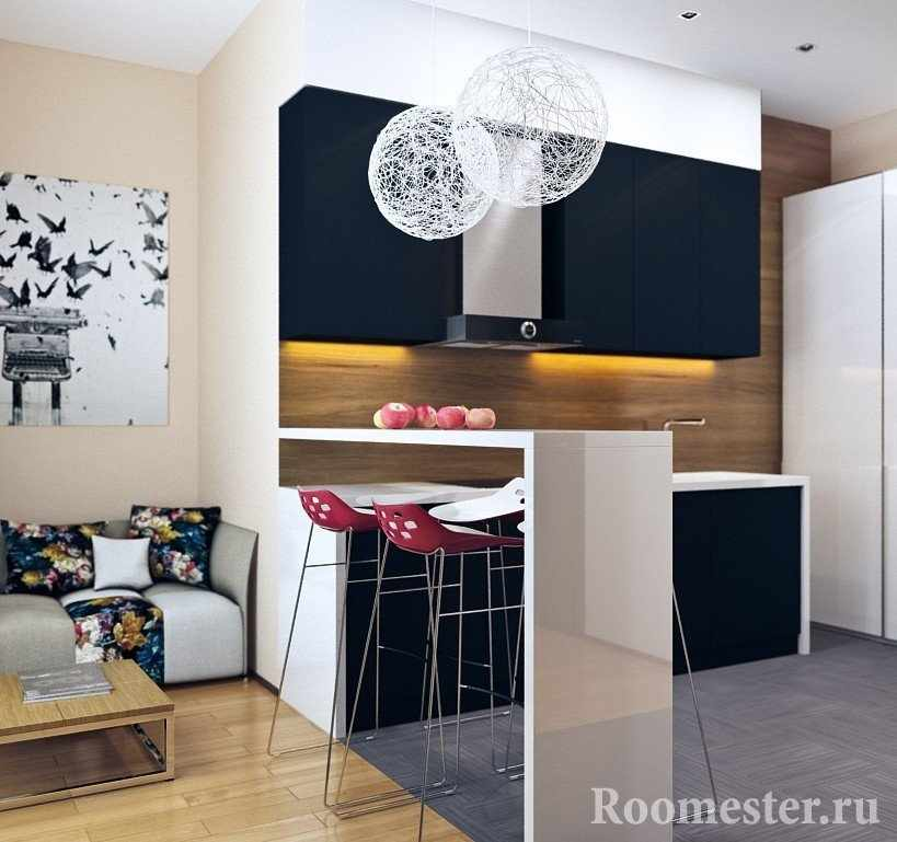 Шкафы на кухне с подсветкой