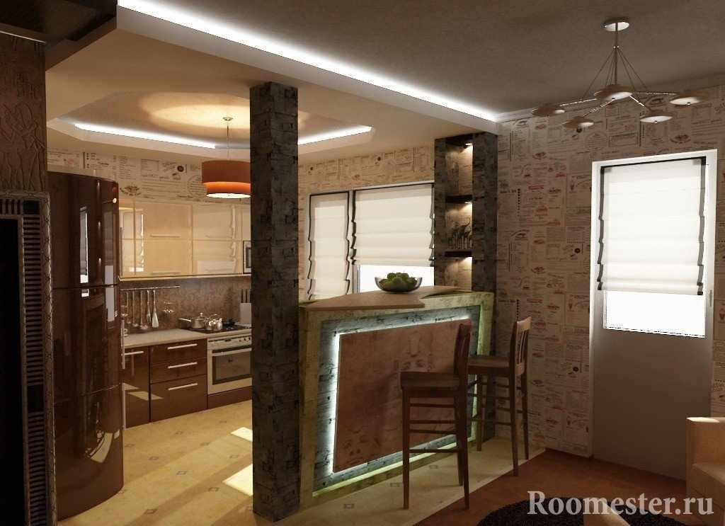 Потолок и барная стойка с подсветкой