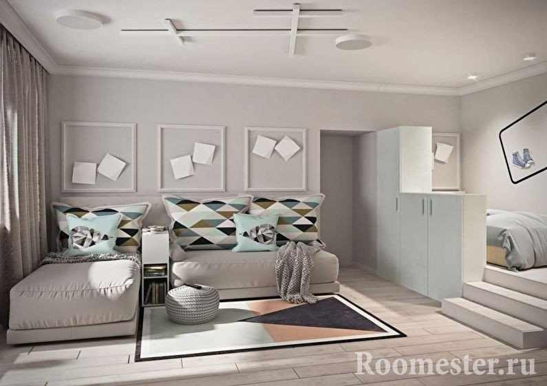 Шкаф в качестве перегородки для спальни