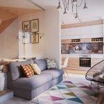 Кровать в квартире-студии за стеклом