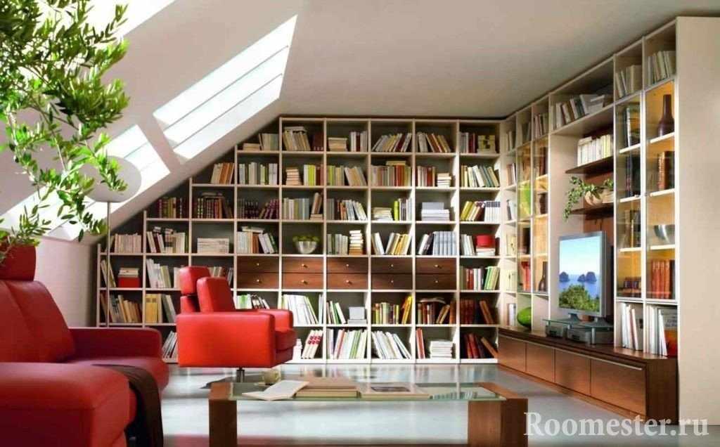 Кресла, столик и шкафы с книгами