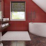 Бело-бардовый интерьер ванной