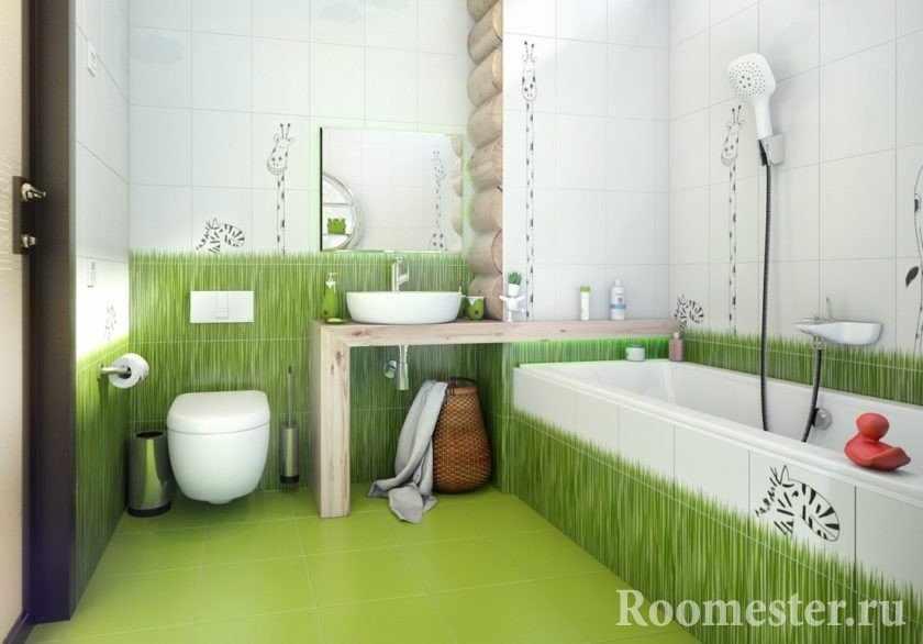 Жирафы и трава на стенах ванной