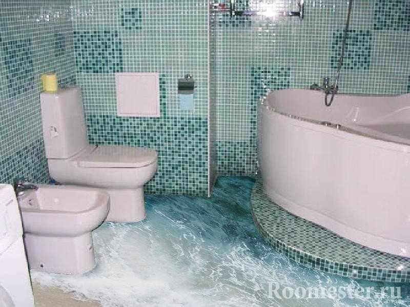 Море на полу ванной