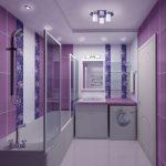 Сиреневые стены в ванной