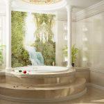 Полки с подсветкой и картина на стене ванной