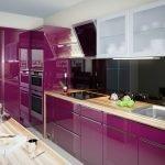Глянцевая фиолетовая кухня