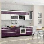 Просторная фиолетово-белая кухня