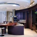 Современный дизайн фиолетовой кухни