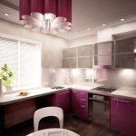 Дизайн маленькой фиолетовой кухни с окном