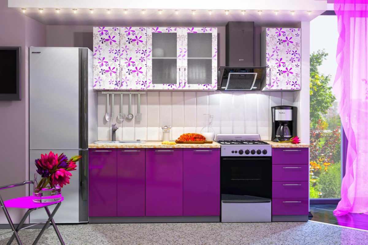 Фиолетовая кухня в стиле романтик