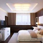 Спальня с подсветкой на потолке
