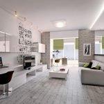 Дизайн квартиры в бело-серых тонах