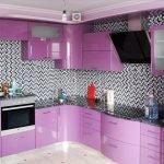 Дизайн серо-фиолетовой кухни